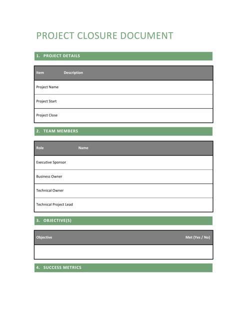 project closure report template download printable pdf. Black Bedroom Furniture Sets. Home Design Ideas