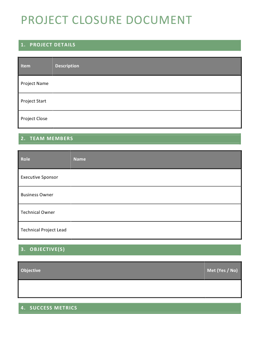 project closure report template download printable pdf