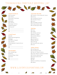 """Thanksgiving Shopping List Template"""