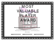"""""""Most Valuable Player Award Certificate Template"""""""