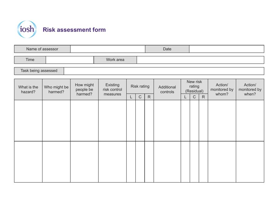 """Risk Assessment Form - Iosh"" Download Pdf"