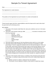 """""""Sample Co-tenant Agreement Form"""""""