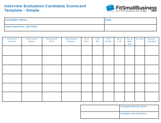 """""""Interview Evaluation Candidate Scorecard Template - Simple - Fitsmallbusiness"""" Download Pdf"""