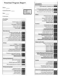 Preschool Progress Report Template - Utah