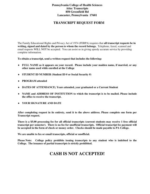 """Transcript Request Form - Pennsylvania College of Health Sciences"" - Pennsylvania Download Pdf"