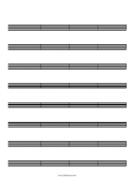 Blank Staff Paper - 8 Staves, 32 Bars Per Page
