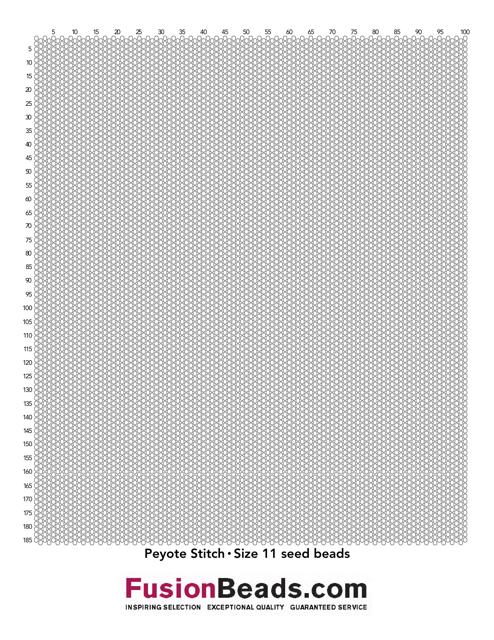"""Black Peyote Stitch Graph Paper Template - Size 11 Seed Beads"" Download Pdf"