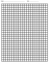 Black On White Grid Paper Template With Name And Date Boxes