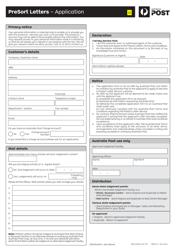 """Presort Letters - Application Form"" - Australia"