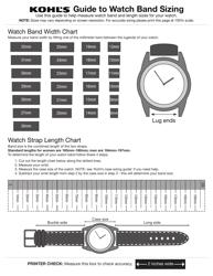 Watch Band Size Chart - Kohl's