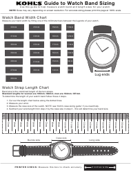 Watch Band Size Chart - Kohl's