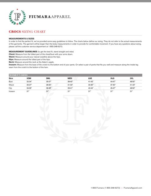"""Crocs Sizing Chart - Fiumara Apparel"" Download Pdf"