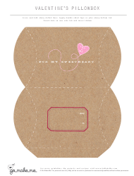 Valentine's Day Pillow Box Craft Template