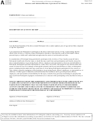 Release and Indemnification Agreement for Minors - the University of Texas at Arlington