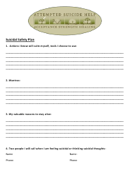 """""""Suicidal Safety Plan Template - Attempted Suicide Help"""""""