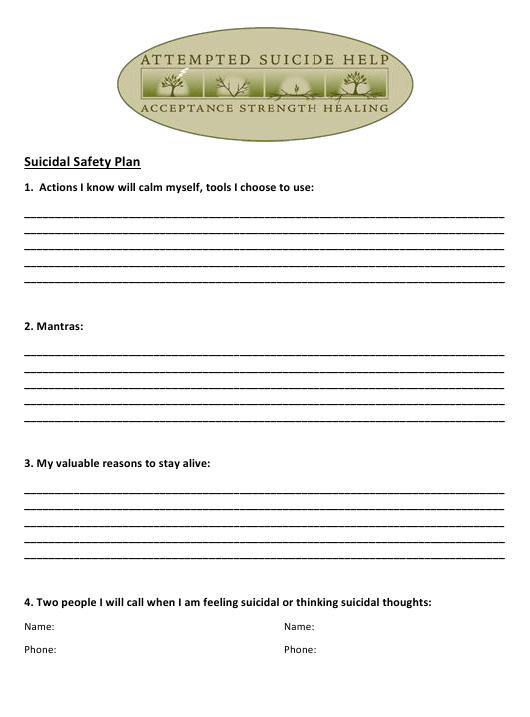 """""""Suicidal Safety Plan Template - Attempted Suicide Help"""" Download Pdf"""