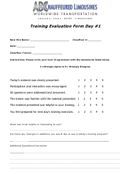 """Chauffeur Training Evaluation Form - Day 1 - Abc Worldwide Transportation"""