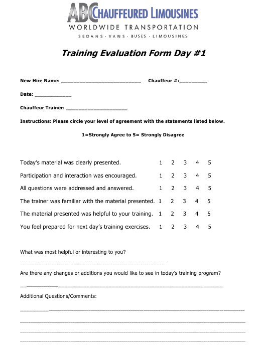 """Chauffeur Training Evaluation Form - Day 1 - Abc Worldwide Transportation"" Download Pdf"