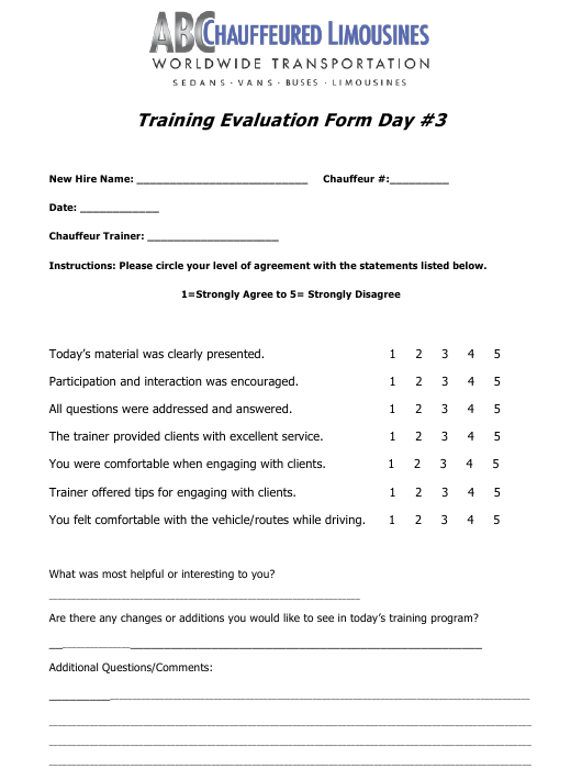 """""""Training Evaluation Form - Day 3 - Chauffeured Limousines"""" Download Pdf"""