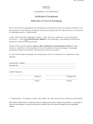 Certificate of Compliance Form - Reduction of Toxics in Packaging - Sample - Iowa