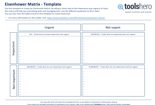 """Eisenhower Matrix Template - Toolshero"" Download Pdf"