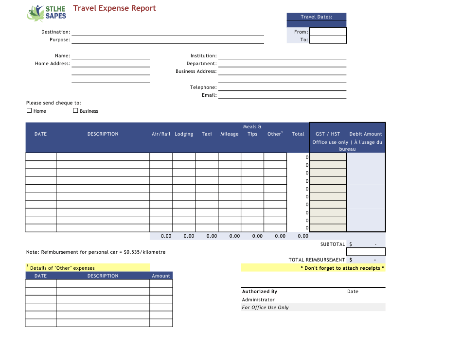 Travel Expense Report Template Stlhe Sapes Download Printable Pdf Templateroller