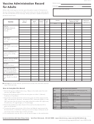 Vaccine Administration Record for Adults Template - Immunization Action Coalition