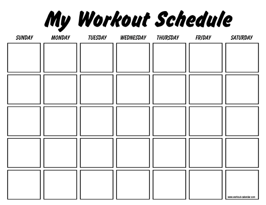 """Weekly Workout Schedule Template"" Download Pdf"