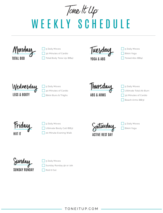 """Weekly Workout Schedule Template - Tone It up"" Download Pdf"