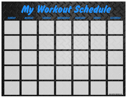 """Weekly Workout Schedule Template - Dark Metal Plate"" Download Pdf"