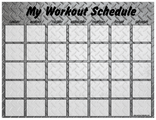 Weekly Workout Schedule Template - Metal Plate Download Pdf