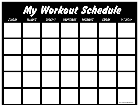 Black Workout Schedule Template Download Printable PDF | Templateroller