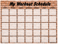 """Weekly Workout Schedule Template - Brick Wall"""