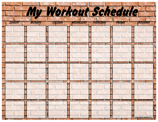 """""""Weekly Workout Schedule Template - Brick Wall"""" Download Pdf"""
