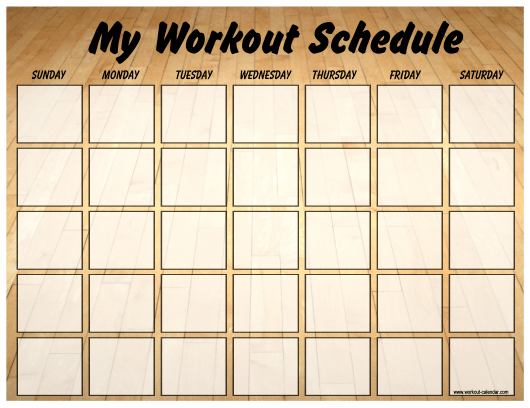 """""""Gym Weekly Workout Schedule Template"""" Download Pdf"""