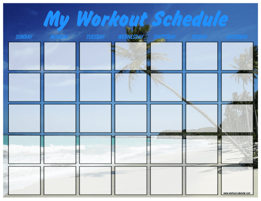 """Beach Weekly Workout Schedule Template"" Download Pdf"