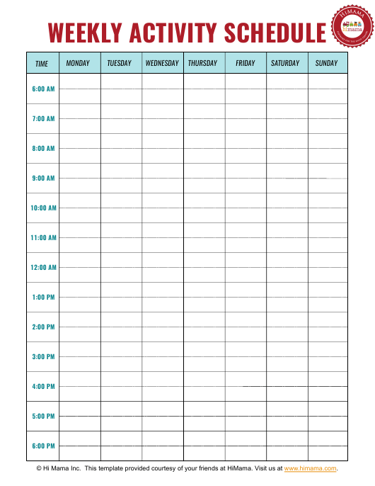 """""""Weekly Activity Schedule Template - Monday to Sunday - Hi Mama"""" Download Pdf"""