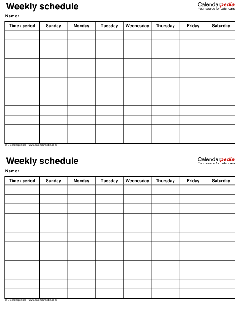"""Weekly Schedule Templates - Calendarpedia"" Download Pdf"