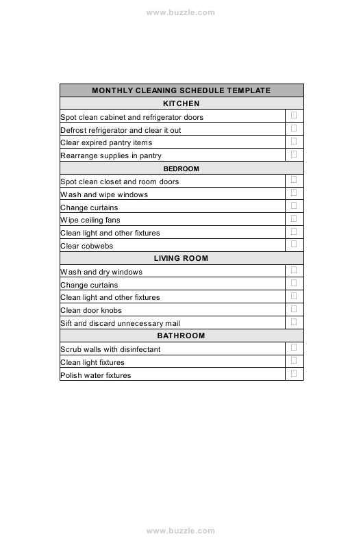"""""""Monthly Cleaning Schedule Template"""" Download Pdf"""