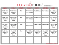 """Turbo Fire Schedule Template - Week 1, 2, 3, 4"""