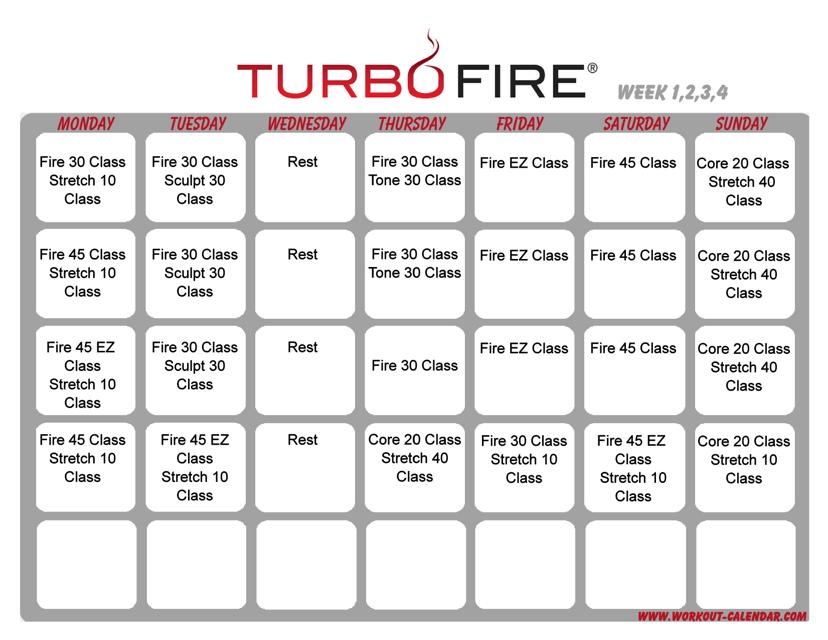 """Turbo Fire Schedule Template - Week 1, 2, 3, 4"" Download Pdf"