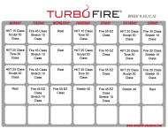 """Turbo Fire Schedule Template - Week 9, 10, 11, 12"""
