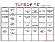 """Turbo Fire Schedule Template - Week 13, 14, 15, 16"""