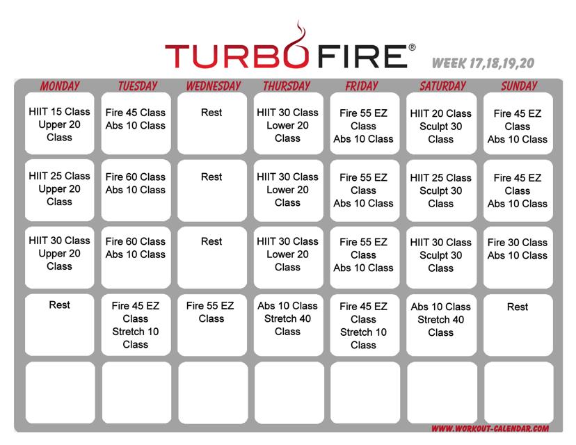"""Turbo Fire Schedule Template - Week 17, 18, 19, 20"" Download Pdf"
