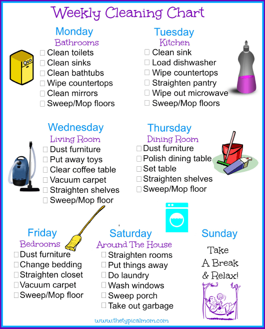 """""""Weekly Cleaning Checklist Template"""" Download Pdf"""