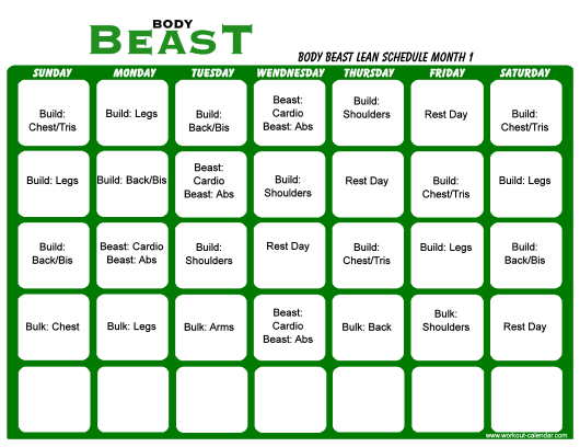 """Body Beast Lean Schedule Template - Month 1"" Download Pdf"