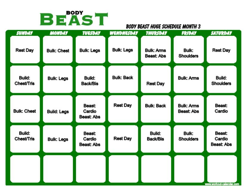 """Body Beast Huge Schedule Template - Month 3"" Download Pdf"