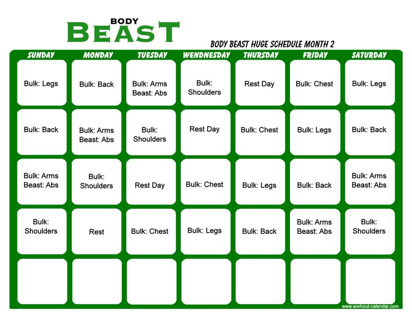 """Body Beast Huge Schedule Template - Month 2"" Download Pdf"