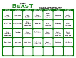 Body Beast Huge Schedule Template - Month 1