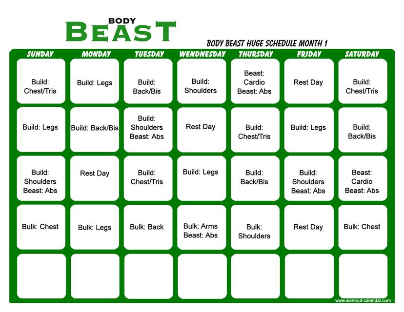 """Body Beast Huge Schedule Template - Month 1"" Download Pdf"